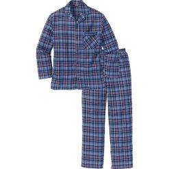 Piżama flanelowa bonprix niebieski w kratę. Niebieskie piżamy męskie bonprix, l, z bawełny. Za 89,99 zł.