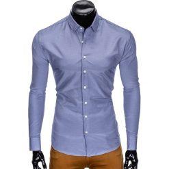 KOSZULA MĘSKA ELEGANCKA Z DŁUGIM RĘKAWEM K424 - NIEBIESKA. Brązowe koszule męskie marki Ombre Clothing, m, z aplikacjami, z kontrastowym kołnierzykiem, z długim rękawem. Za 49,00 zł.