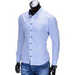 Koszule męskie na spinki: KOSZULA MĘSKA ELEGANCKA Z DŁUGIM RĘKAWEM K314 – BŁĘKITNA