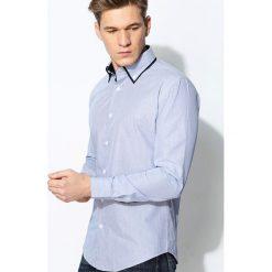 Niebieska Koszula Granate. Niebieskie koszule męskie na spinki Born2be, m, w paski, z długim rękawem. Za 64,99 zł.