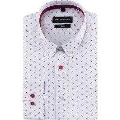 Koszula SIMONE slim KDWS000500. Białe koszule męskie na spinki Giacomo Conti, m, z materiału, button down, z długim rękawem. Za 169,00 zł.