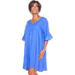 """Sukienki hiszpanki: Lniana sukienka """"Louna"""" w kolorze niebieskim"""