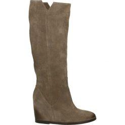 Kozaki - Z103 CAM TORT. Brązowe buty zimowe damskie marki Kazar, ze skóry, przed kolano, na wysokim obcasie. Za 499,00 zł.