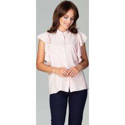 Różowa Koszulowa Bluzka z Falbankowym Rękawem. Białe bluzki koszulowe marki Born2be, s, z koronki, z długim rękawem. Za 128,90 zł.