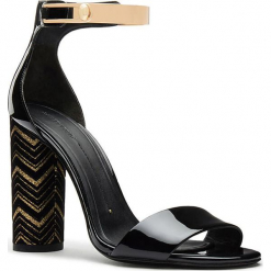 Skórzane sandały w kolorze czarno-złotym. Czarne sandały damskie Stella Luna, w paski, z lakierowanej skóry, na obcasie. W wyprzedaży za 614,95 zł.