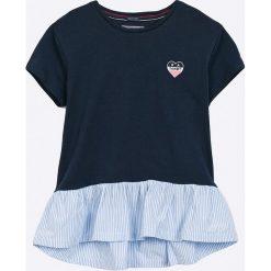 Tommy Hilfiger - Top dziecięcy 122-176 cm. Czarne bluzki dziewczęce marki TOMMY HILFIGER, z bawełny, z okrągłym kołnierzem. Za 199,90 zł.