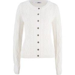 Sweter rozpinany w warkocze bonprix biel wełny. Białe kardigany damskie marki Reserved, l. Za 109,99 zł.