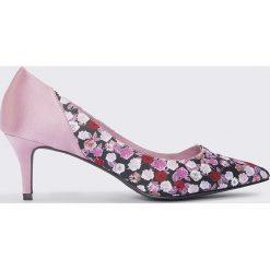 Czółenka: NA-KD Shoes Satynowe czółenka na średnim obcasie – Pink,Multicolor