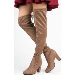 Buty zimowe damskie: Wsuwane zamszowe muszkieterki LISA