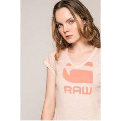 G-Star Raw - Top. Szare topy damskie marki G-Star RAW, l, z nadrukiem, z bawełny. W wyprzedaży za 99,90 zł.