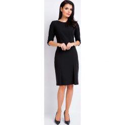 Odzież damska: Czarna Ołówkowa Wizytowa Sukienka z Dołem w Zakładki