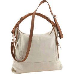 Torebki klasyczne damskie: Skórzana torebka w kolorze kremowo-jasnobrązowym – 30 x 25 x 16 cm