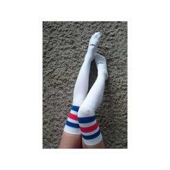 Paski damskie: UGLY Zakolanówki Białe/niebiesko-czerwone  paski