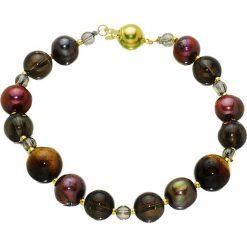 Bransoletki damskie: Bransoletka z pereł i kwarców – (D)20 cm