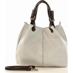 Shopper bag damskie: Skórzana torebka shopper MAZZINI – LINDA biała