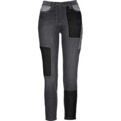 Dżinsy ze stretchem 7/8 patchworkowe bonprix szary denim. Szare jeansy damskie marki bonprix. Za 109,99 zł.