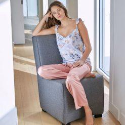 Piżama z kwiecistej satyny. Szare piżamy męskie marki Astratex, m, z nadrukiem, z bawełny, na ramiączkach. Za 102,86 zł.