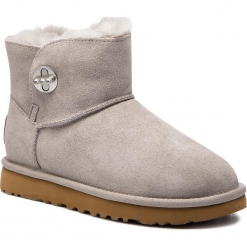 Buty UGG - W Mini Turnlock Bling 1098354 W/Sel. Szare buty zimowe damskie marki Ugg, z materiału, z okrągłym noskiem. Za 879,00 zł.