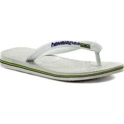 Japonki HAVAIANAS - Brasil Logo 41108500001 White. Białe chodaki damskie Havaianas, z tworzywa sztucznego. Za 99,00 zł.