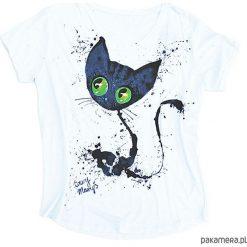 Bluzki damskie: Bluzka kobieca XL z ręcznie malowanym kotem
