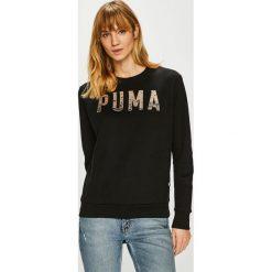 Puma - Bluza. Czarne bluzy z kieszeniami damskie Puma, l, z nadrukiem, z bawełny, bez kaptura. Za 199,90 zł.