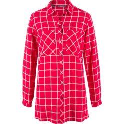Długa tunika, szeroki fason bonprix czerwono-biały w kratę. Czerwone tuniki damskie z długim rękawem bonprix. Za 74,99 zł.