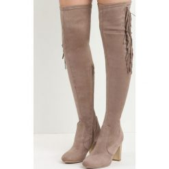 Khaki Kozaki Integral. Brązowe buty zimowe damskie marki Kazar, ze skóry, przed kolano, na wysokim obcasie. Za 139,99 zł.