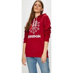 Reebok Classic - Bluza. Czerwone bluzy rozpinane damskie Reebok Classic, l, z nadrukiem, z bawełny, z kapturem. W wyprzedaży za 199,90 zł.