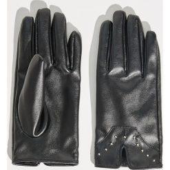 Rękawiczki damskie: Rękawiczki z ekologicznej skóry - Czarny
