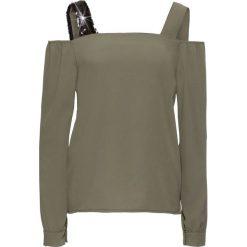 Bluzka z ozdobnymi ramiączkami bonprix oliwkowo-czarny. Czarne bluzki asymetryczne bonprix, z długim rękawem. Za 37,99 zł.