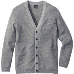 Swetry męskie: Kardigan z dzianiny o gładkim splocie Regular Fit bonprix szary melanż