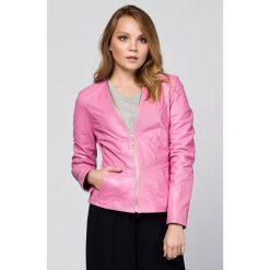 Odzież damska: Skórzana kurtka w kolorze różowym