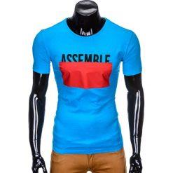 T-SHIRT MĘSKI Z NADRUKIEM S924 - NIEBIESKI. Niebieskie t-shirty męskie z nadrukiem marki Ombre Clothing, m. Za 29,00 zł.