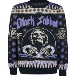 Black Sabbath Holiday Sweater Sweter z dzianiny czarny/jasnofioletowy. Czarne swetry klasyczne męskie marki Black Sabbath, xl, z dzianiny, z okrągłym kołnierzem. Za 264,90 zł.