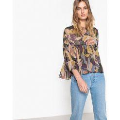 Bluzki asymetryczne: Wzorzysta bluzka z okrągłym dekoltem, długi rękaw
