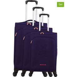 """Walizki (3 szt.) """"Teddy Bear"""" w kolorze fioletowym. Czarne walizki marki Jack Wolfskin, w paski, z materiału, małe. W wyprzedaży za 673,95 zł."""
