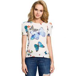 ELIANA Bluzka w motyle z krótkimi rękawami - ecru. Szare bluzki z odkrytymi ramionami Moe, w kolorowe wzory, z krótkim rękawem. Za 119,00 zł.