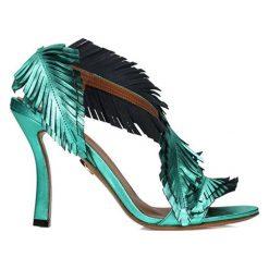 Rzymianki damskie: Skórzane sandały w kolorze miętowym