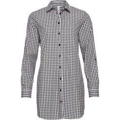 Długa bluzka bonprix czarno-biały w kratę. Białe bluzki longsleeves marki bonprix. Za 89,99 zł.