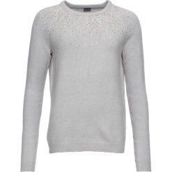 Sweter z kamieniami bonprix szary melanż. Szare swetry klasyczne damskie bonprix, z okrągłym kołnierzem. Za 74,99 zł.