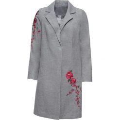 Płaszcz z haftem bonprix szary melanż. Szare płaszcze damskie bonprix, z haftami. Za 129,99 zł.