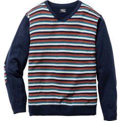 Swetry męskie: Sweter z dekoltem w serek Regular Fit bonprix ciemnoniebieski w paski