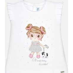 Mayoral - Top dziecięcy 68-98 cm. Różowe bluzki dziewczęce marki Mayoral, z bawełny, z okrągłym kołnierzem. Za 64,90 zł.
