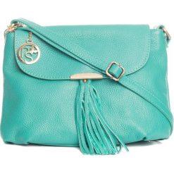 Torebki klasyczne damskie: Skórzana torebka w kolorze turkusowym – 27 x 22 x 10 cm