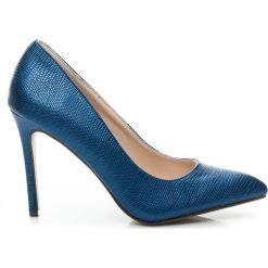 Wysokie niebieskie szpilki w szpic. Niebieskie szpilki marki Mohito. Za 109,00 zł.
