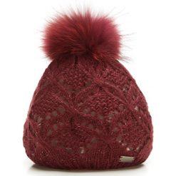 85-HF-004-2 Czapka damska. Czerwone czapki damskie Wittchen, na zimę, w ażurowe wzory, z dzianiny. Za 59,00 zł.
