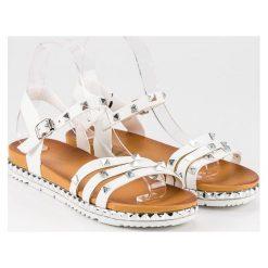 Rockowe płaskie sandały ANESIA PARIS biały. Czarne sandały damskie marki ANESIA PARIS. Za 69,00 zł.