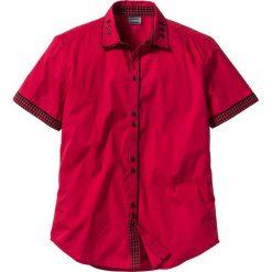 Koszula z krótkim rękawem Slim Fit bonprix ciemnoczerwony. Zielone koszule męskie slim marki bonprix, w kropki, z kopertowym dekoltem, kopertowe. Za 89,99 zł.