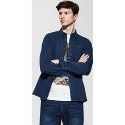 Koszule męskie: Denimowa koszula z kieszenią – Niebieski