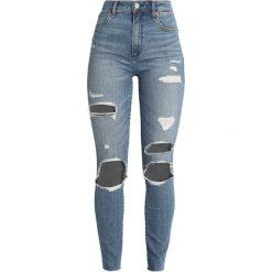 Abercrombie & Fitch Jeans Skinny Fit medium blowout. Niebieskie rurki damskie Abercrombie & Fitch, z bawełny. Za 409,00 zł.